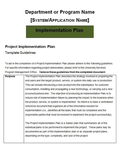 Project Implementation Plan Template 5 Free Word Excel Documents Download Free Premium Implementation Plan Template