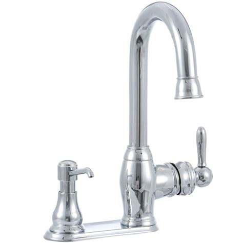glacier bay single handle kitchen faucet glacier bay newbury single handle bar faucet in chrome with soap dispenser fs1a0008cp the home