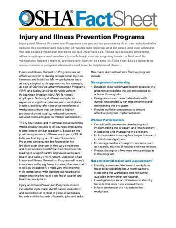 Mold Hazards During Hurricane Sandy Cleanup Fact Sheet Osha Osha Injury And Illness Prevention Program Template