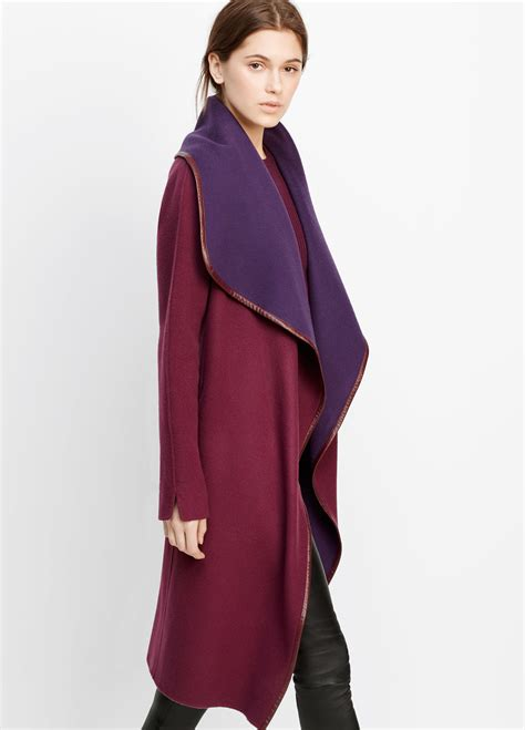 Fashion Find Front Drape Jacket by Lyst Vince Drape Front Belted Coat With Leather Trim In