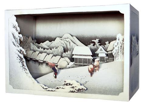 How To Make A Diorama With Paper - diy paper diorama hiroshige ando evening snowpaper craft