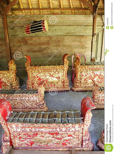 gamelan layout bali gamelan orchestra instruments stock photography