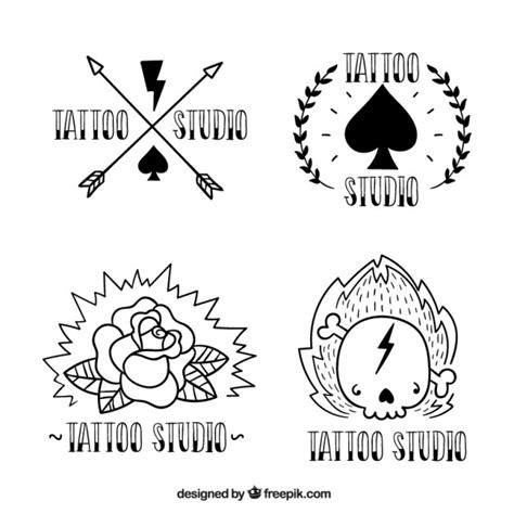 imagenes blanco y negro editar logotipos para estudio de tatuajes dibujadas a mano en