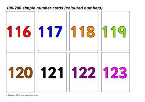 printable number cards to 200 simple 100 200 number cards coloured numbers sb10395