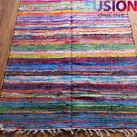 Flat Weave Cotton Area Rugs 100 Cotton Handmade Multi Colour Chindi Rug Area Rag Rugs Flat Weave Mat Mats Ebay