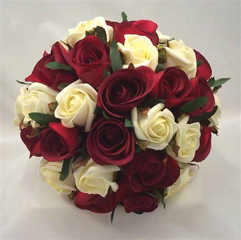 Wedding Flowers Roses by Burgundy Ivory Bouquet Wedding Flowers Bridal Ebay