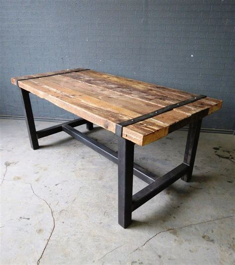 steel bar table frame industrial chic custom reclaimed timber dining