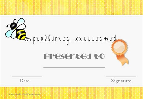 Free Spelling Bee Certificate Templates   Customize Online