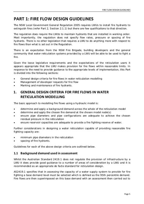 residential design guidelines nsw fire flow design guidelines 2011