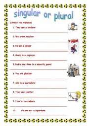 worksheet singular or plural verb to be