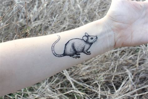 black rat tattoo mouse temporary rat black ink rodent