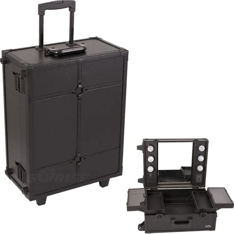 makeup luggage with lights sunrise justcase pro studio makeup rolling cosmetic train