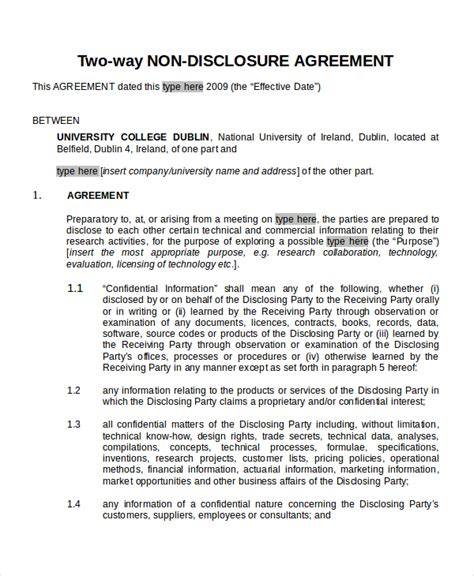one way nda template 12 non disclosure agreement templates free sle