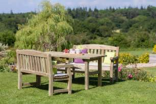 wooden table and bench set emily table 2 bench wooden dining set garden