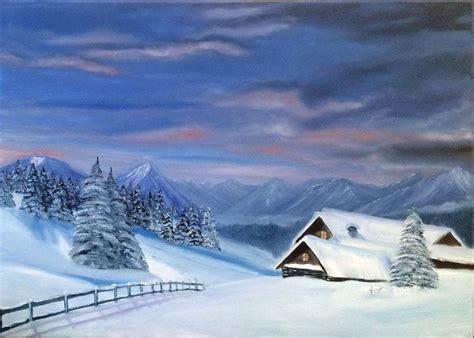 Peinture Blanc Neige by Peinture 224 L Huile Paysage De Montagne Chalet Neige