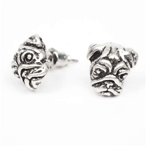 pug studs pug stud earrings by oh so cherished notonthehighstreet