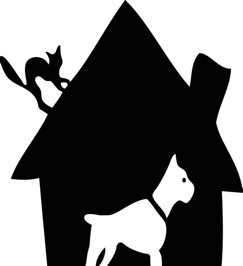 cat and dog house clipart black house with dog and cat cleaned up