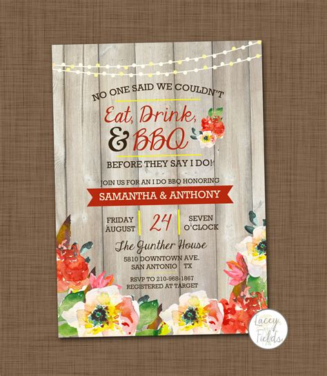 Backyard Bbq Wedding Invitation Wording I Do Bbq Invitation Printable Bbq Wedding Shower By
