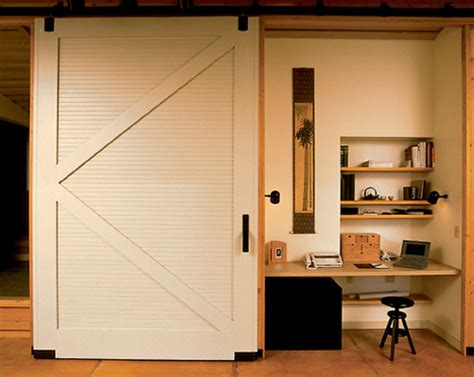 Hideaway Closet Doors Interior Sliding Door Hides Closet Office Content In A Cottage