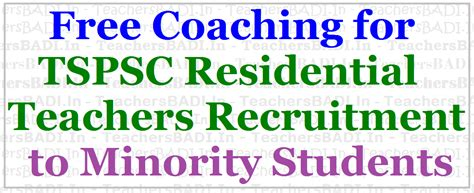 Free Mba Programs For Minorities 2017 by Free Coaching For Tspsc Residential Teachers Recruitment
