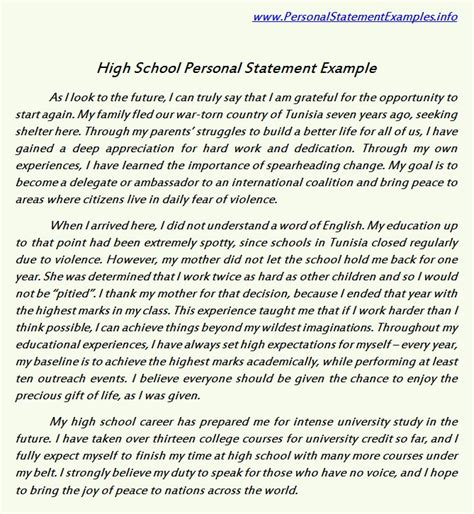 college personal essay sles high school personal statement exles for guidance http