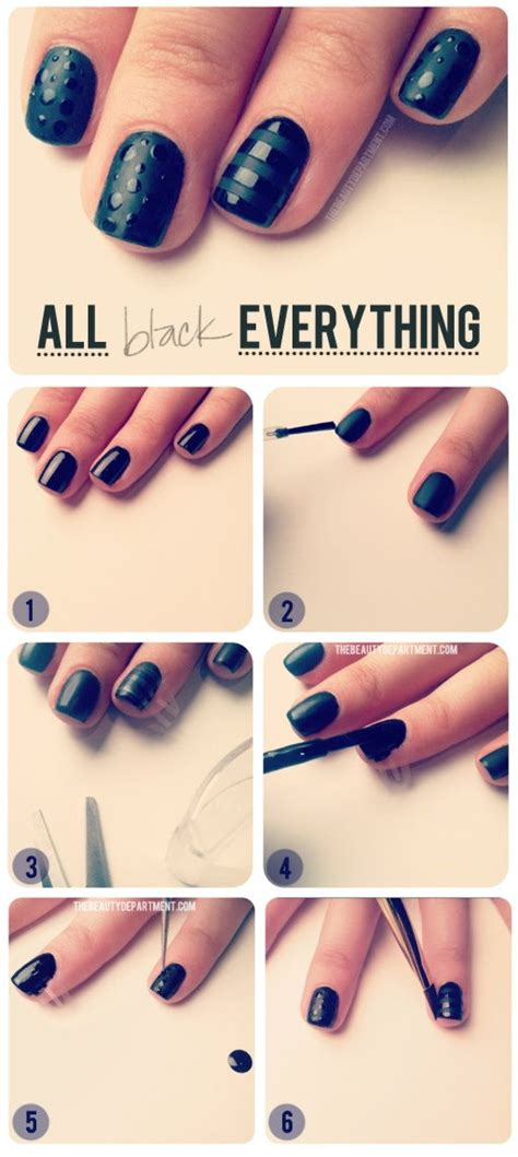 easy nail art tutorial step by step how to make all black everything nail art step by step diy
