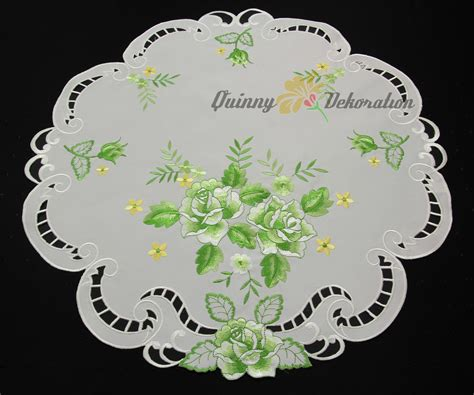 doily table runner topper tablecloth white with green