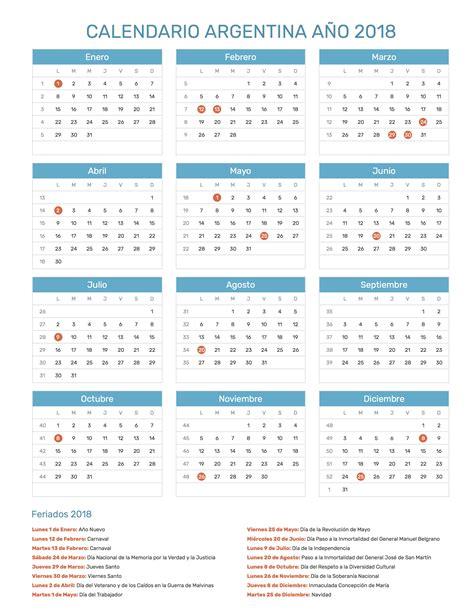 Calendario 2018 Argentina Con Feriados Calendario Argentina A 241 O 2018 Feriados