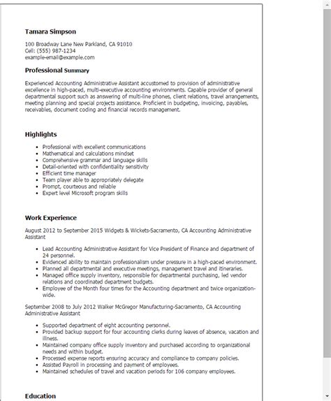 account assistant resume format professional accounting administrative assistant templates