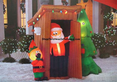 shop animated santa outhouse christmas inflatable gemmy airblown inflatable christmas