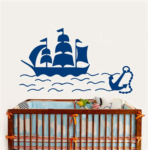 Nursery Removable Wall Decals Removable Nursery Room Wall Sticker Ship Boat Anchor Sea Nautical Vinyl Decals Boys Bedroom