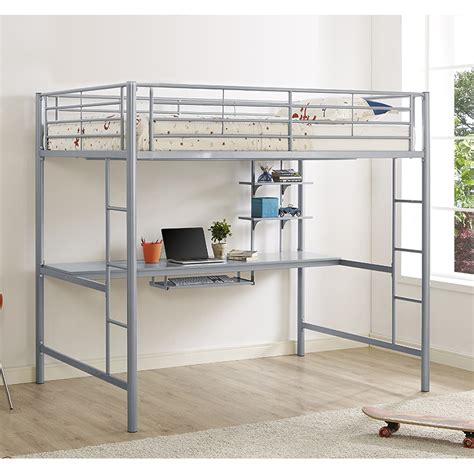 Jersey Metal Full Loft Bed With Desk Bunk Beds Bdozsl 8 White Metal Loft Bed With Desk