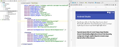 xml layout preview fonts in xml android developers