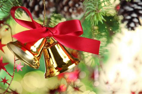 christmas jingle bells images  holly ribbon decorations   hd wallpapers