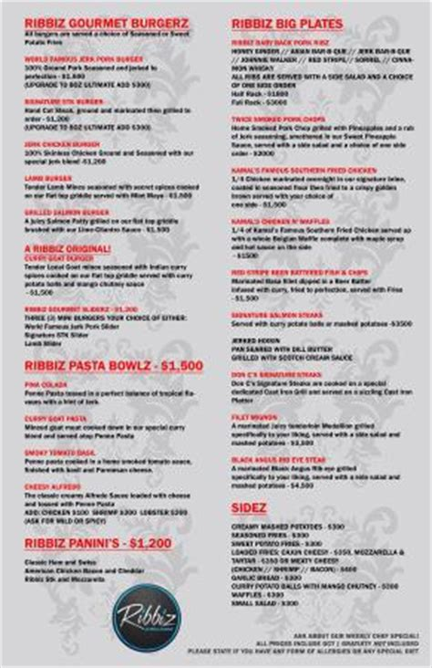 country kitchen menu with prices ribbiz menu picture of ribbiz ultralounge kingston