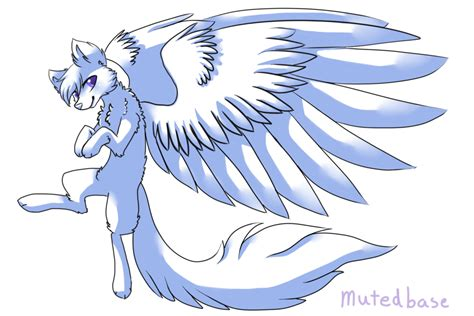 cute anime cat with wings drawings f2u winged wolf base by mutedbase on deviantart