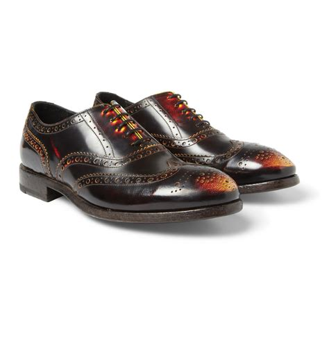 leather oxford shoes paul smith chuck burnished leather oxford shoes in brown
