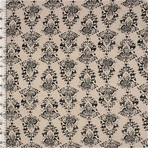 damask knit fabric charcoal gray damask on beige cotton spandex blend knit