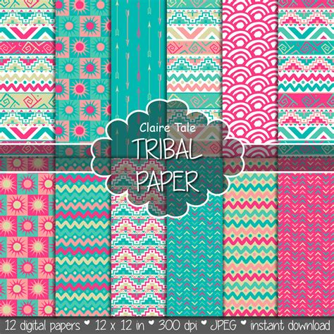 tribal pattern paper tribal digital paper tribal paper with tribal