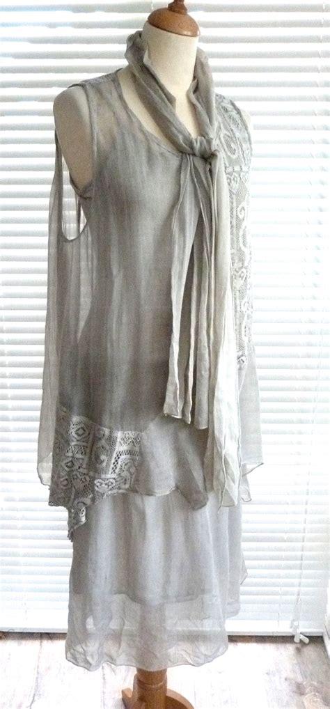 11865 Geometric Set Top Skirt Size L beautiful italian lagenlook cotton and geometric lace