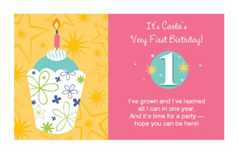 1st Year Happy Birthday Wishes Baby Girl S 1st Birthday Invitation 1st Birthday