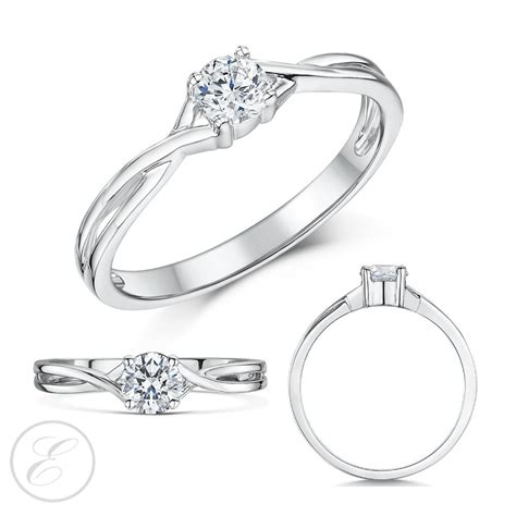 9ct white gold engagement ring solitaire quarter