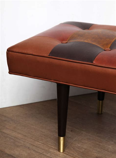 tufted leather bench tufted leather bench at 1stdibs