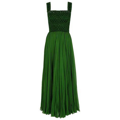 beaded green dress 1950 s rosali macrini olive green beaded rhinestone silk