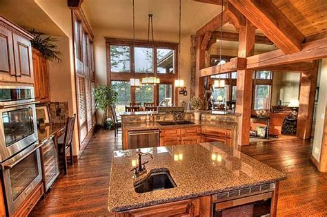 log home open floor plan kitchen luxury log cabin homes plan w59926nd vacation premium collection country