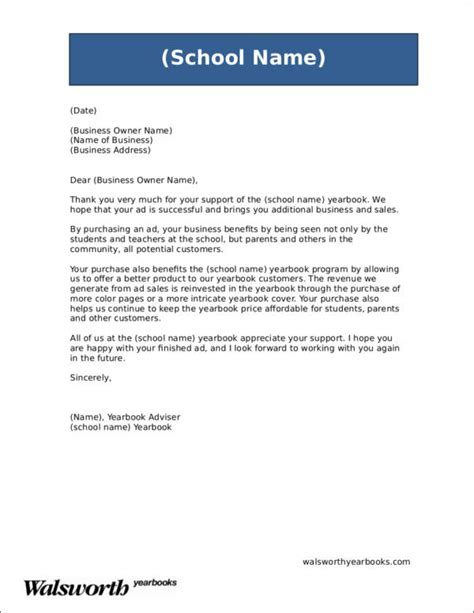Yearbook Advisor Cover Letter by Yearbook Business Ad Letter Docoments Ojazlink