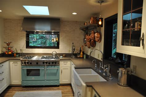 elegant wall mounted pot rackin kitchen transitional