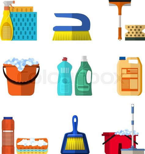 How To Get Floor Plans For My House by Cleaning Icons Set With Mop Soap And Gloves Red Plastic