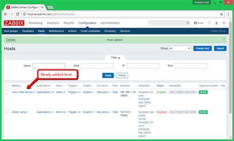 zabbix server tutorial how to add host in zabbix server to monitor tecadmin