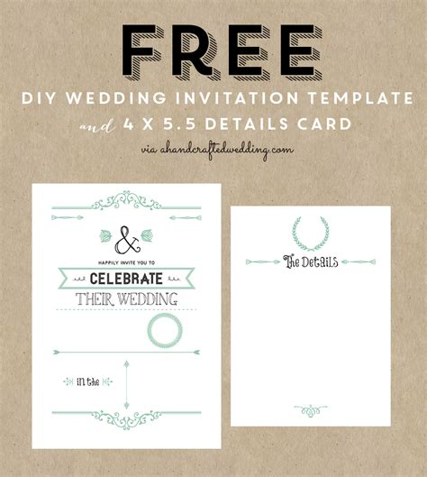 printable wedding invite templates free rustic wedding invitation templates best template